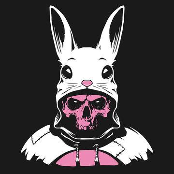 Rabbit hood with human skull