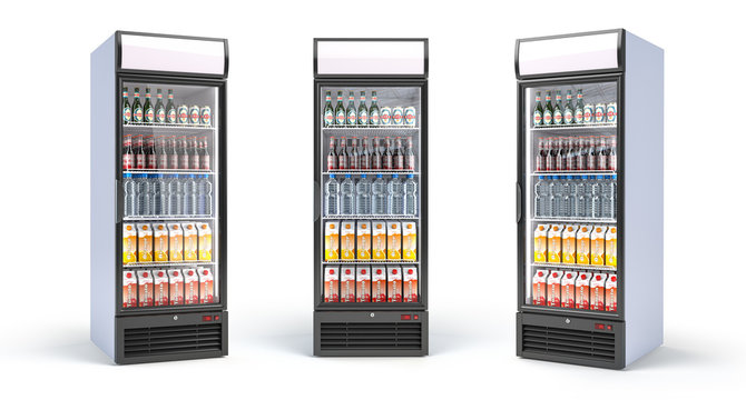 Fridge with drinks isolated on white. Set of showcase refrigerators with water, beer nad soda in the grocery shop.