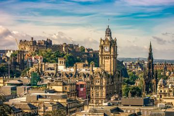 Edinburgh Castle famous fortress city cityscape Scotland UK landmark sunset