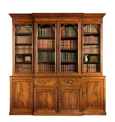Bookcase dresser breakfront old antique English with books