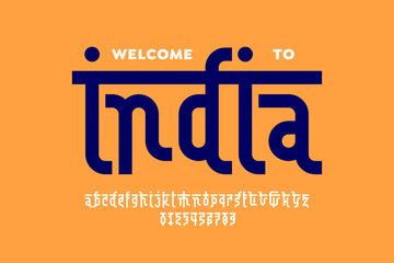 Indian style Latin font design, Devanagari inspared alphabet, letters and numbers