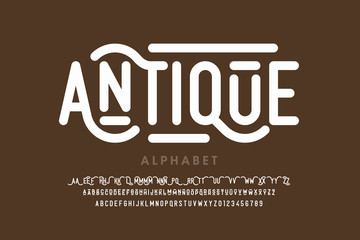 Antique style font, alphabet letters with alternates and numbers Fototapete