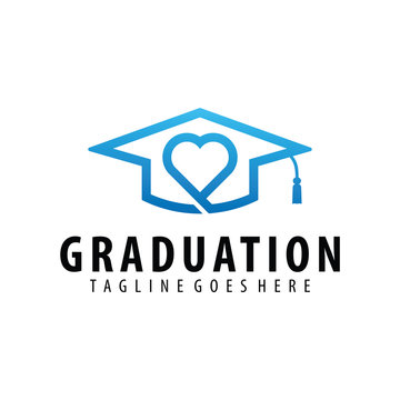 Graduation hat and love logo symbol or icon template