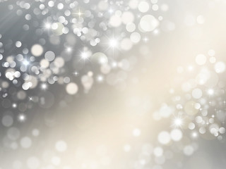 Elegant silver and white glitter, sparkle background with stars