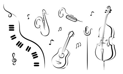 A set of hand drawn musical instruments. Piano, saxophone, trumpet, guitar, mic cello. For posters, flyers, banners. Vector.