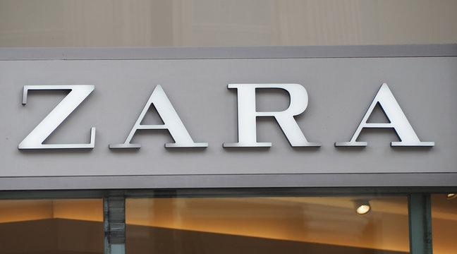 LONDON - SEP 2019: Zara sign