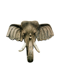 Close-up Elephant Head Model from wooden  isolated on white background