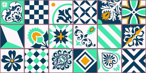 Lisbon geometric Azulejo tile vector pattern, Portuguese or Spanish retro old tiles mosaic, Mediterranean seamless turquoise and yellow design. Ornamental textile background