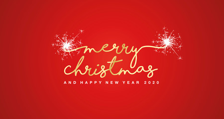Merry Christmas and Happy New Year 2020 handwritten text tipography firework gold white red background