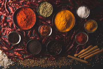 Canvas Prints Spices Variety of spices and herbs on kitchen table