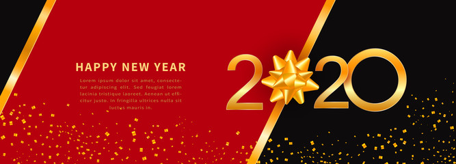 Happy New Year 2020 - New Year greeting card, voucher or coupon template with shiny gold text design, numbers and golden ribbon bow on black background with glitter confetti Fototapete