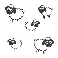 Adorable little sheep icon set illustration - VECTOR
