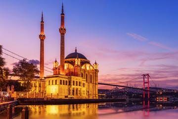 Ortakoy Mosque and the Bosphorus bridge in the night lights, Istanbul, Turkey