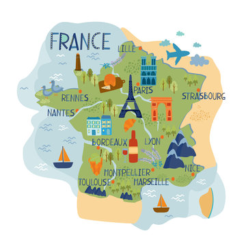vector map of france. European country. french food and architecture