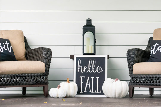 Stylish fall porch decor in black and white