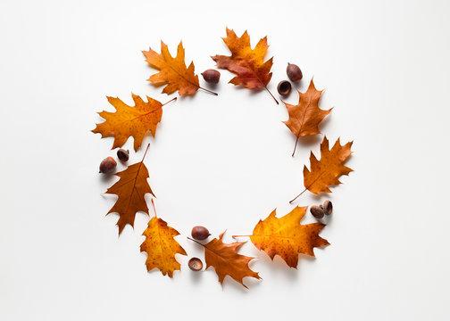 Autumn frame with fall foliage on white background