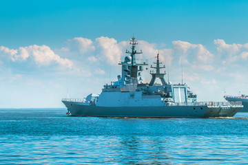 Wall Murals Shipwreck Warship. Protection of Maritime borders. Missile cruiser. Navy. Protection of the country. Combat duty. Neutral water.