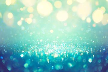Fotomurales - Christmas Defocused - Teal Green And Blue Dust With Bokeh Lights