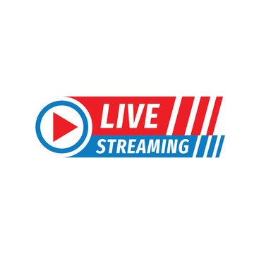 Live streaming logo icon vector design element. Banner and play button for tv news or online broadcasting.