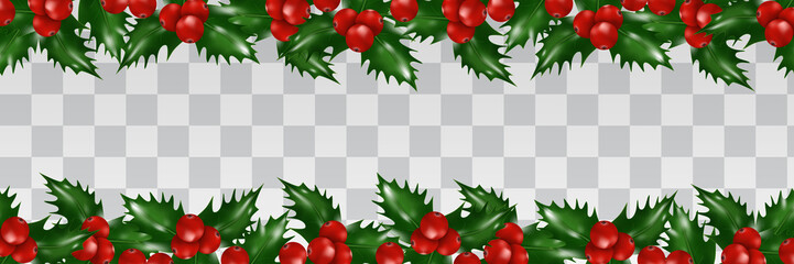 Holly berries border isolated on transparent background. Christmas and New Year decorations. Xmas garland. Vector