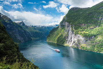 Foto op Plexiglas Noord Europa Beautiful views in Geiranger, Geirangerfjord, Norway