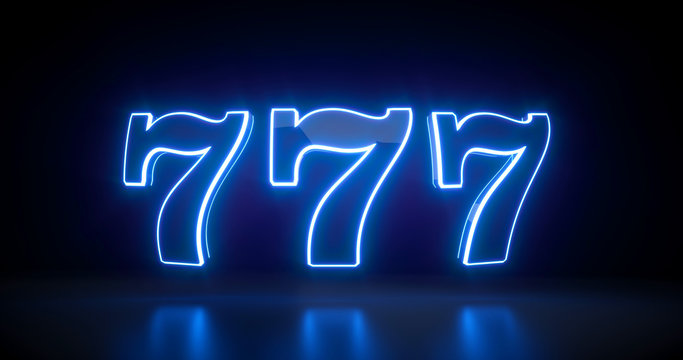 777 Slot Sign With Futuristic Blue Neon Lights Isolated On The Black Background - 3D Illustration