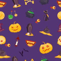 Canvas Prints Violet Modern vector illustration of Halloween vector seamless pattern