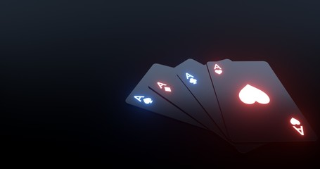 4 Aces Playing Cards With Futuristic Glowing Lights Isolated On The Black Background - 3D Illustration