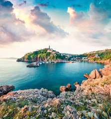 Amazing morning cityscape of Vrbnik town. Splendid summer seascape of Adriatic sea, Krk island,...