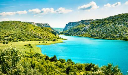 Colorful summer view of Visovacko lake. Great morning scene of Krka National park, Roski Slap...