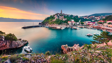 Photo Stands Ship Exciting morning cityscape of Vrbnik town. Colorful summer seascape of Adriatic sea, Krk island, Kvarner bay archipelago, Croatia, Europe. Beautiful world of Mediterranean countries.