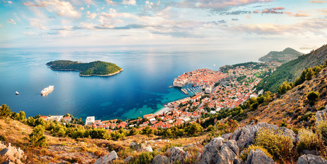Aerial morning view of Dubrovnik city. Colorful summer scene of Croatia, Europe. Beautiful world of Mediterranean countries. Traveling concept background. Fototapete