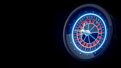 Futuristic Roulette Wheel With Blue Neon Lights Isolated On The Black Background - 3D Illustration