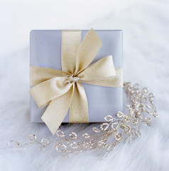 Fancy, elegant, silver gift present with gold bow and glitter garland on white background. Special, luxury Christmas or wedding gifts. Selective focus on front of gift box.