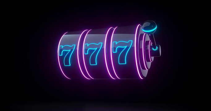 Futuristic Slot Machine Concept With Purple And Blue Neon Lights Isolated On The Black Background - 3D Illustration