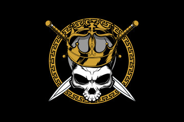 king skull head with sword vector logo template