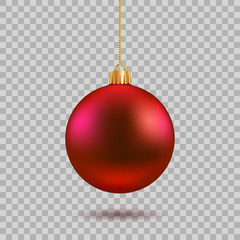 Fotobehang Bol Red Christmas ball. New year toy decoration - stock vector