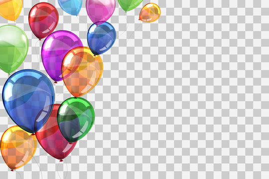 Group colored helium fly balloons on transparent background - stock vector