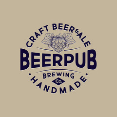 Beer Pub emblem. Letters and hop cone at engraving style. Craft Beer logotype. Vintage style.