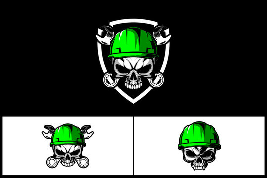 skull head with hard hat and wrench vector badge logo template