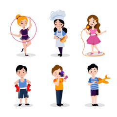 Children's hobby and education, vector flat cartoon illustration. Babies boys and girls isolated on white background.