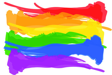 Watercolor style Rainbow flag movement. lgbt, flat icon. Symbol of sexual minorities, gays and lesbians. Vector illustration of a colorful canvas.