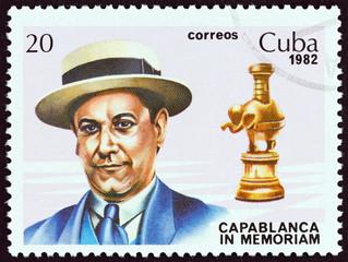 World chess champion Jose Raul Capablanca and rook (Cuba 1982)