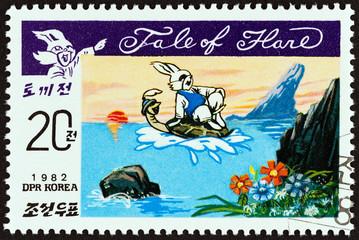 Hare riding on turtle tale (North Korea 1982)