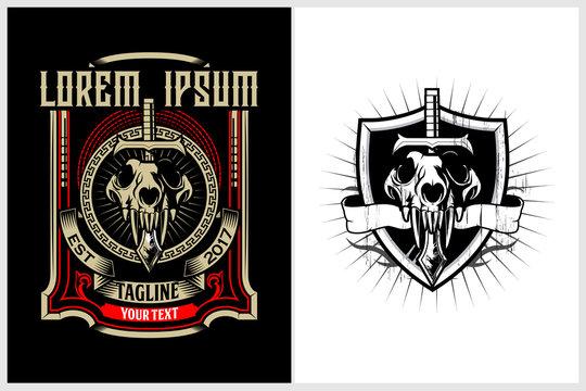 skull wolf head emblem logo vector template
