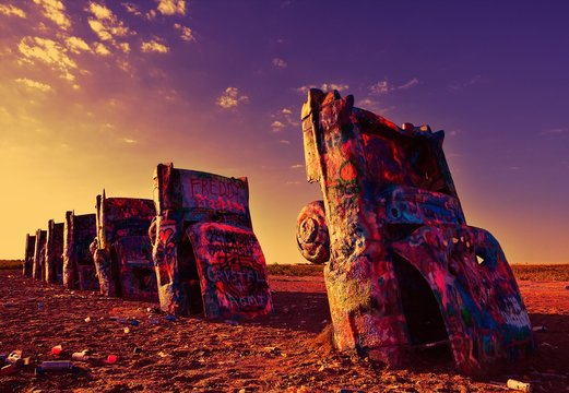 Amarillo, Texas - July 21, 2017 : Cadillac Ranch in Amarillo. Cadillac Ranch is a public art installation of old car wrecks and a popular landmark on historic Route 66