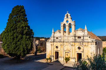 Front facade of the Monastery of Arkadi (Moní Arkadíou), an Eastern Orthodox monastery located next to Rethymno, North Crete, Greece