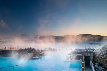 Obraz Beautiful landscape and sunset near Blue lagoon hot spring spa in Iceland - fototapety do salonu