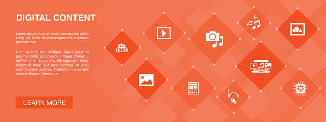 digital content banner 10 icons concept. vector image, media, video, social content icons