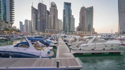 Fotomurales - time lapse of sunset, Dubai Marina, UAE